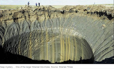 Melting Siberian Permafrost is producing methane blow-holes